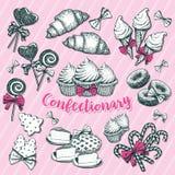 Bageri och bakelse, konfekt för vinterferie vektor illustrationer