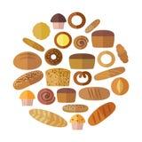Bageri- och bakelseproduktsymboler ställde in med olika slag av bröd, söta bullar, muffin, degkakor Royaltyfri Foto