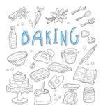Bageri- och efterrättklotter tecknad handvektor royaltyfri illustrationer