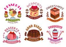 Bageriefterrätter, bakelse bakar ihop emblemetikettuppsättningen royaltyfri illustrationer