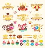 Bagerietiketter, logoer och designbeståndsdelar Royaltyfri Bild