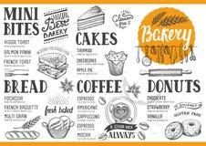 Bagerimenyrestaurang, matmall stock illustrationer