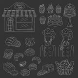 Bagerisamling, hand dragen illustration för klotterstilvektor Royaltyfria Bilder