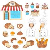 Bagerisamling, hand dragen illustration för klotterstilvektor Arkivbilder
