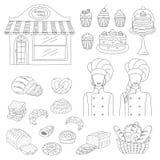 Bagerisamling, hand dragen illustration för klotterstilvektor Royaltyfri Bild