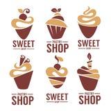 Bagerit bakelse, konfekt, kakan, efterrätten, sötsaker shoppar vektor illustrationer
