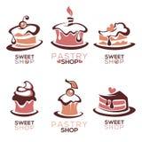 Bagerit bakelse, konfekt, kakan, efterrätten, sötsaker shoppar, stock illustrationer