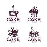 Bagerit bakelse, konfekt, kakan, efterrätten, sötsaker shoppar, vectoen royaltyfri illustrationer