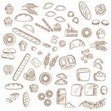 Bagerit, bakelse och konfekt skissar royaltyfri illustrationer