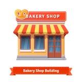 Bagerit shoppar byggnadsfasaden med skylten royaltyfri illustrationer