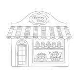 Bagerit shoppar byggnadsvektorillustrationen Arkivfoto