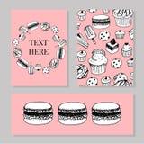 Bagerit shoppar eller uppsättningen för mallar för för bakelsebakelserbaner och affischer Vektorefterrättkakor och bakelsemuffin, royaltyfri illustrationer