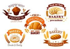 Bagerit shoppar emblemet med bröd och bakar ihop sött royaltyfri illustrationer
