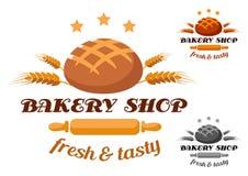 Bagerit shoppar etiketten eller emblemet royaltyfri illustrationer