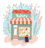 Bagerit shoppar på gatan Bagerilager utomhus stock illustrationer