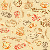 Bagerit skissar sömlös bakgrund Arkivfoton