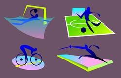 bages de los deportes olímpicos del verano, waterpolo, montando en bicicleta, fútbol, fancing stock de ilustración