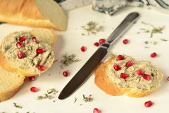 Baget with mushroom pate Royalty Free Stock Photos