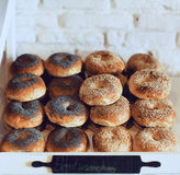Baget with sesame. The poppy Stock Image