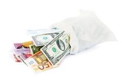 Bagful del dinero Imagen de archivo libre de regalías