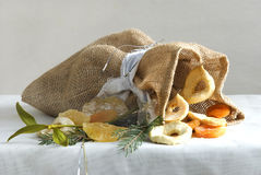 Bagful of dry fruits at winter time Stock Image
