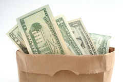 Bagful of money Royalty Free Stock Photos