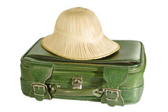 Baggage. Green suitcase with safari hat - isolated on white background Stock Photography