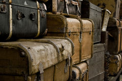 Baggage. Lots of old retro baggage in black and brown Stock Photo