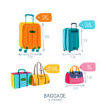Baggage allowance   icons. Multicolor luggage, suitcase, bags with tags and labels. Checked in baggage and hand luggage for traveling by aircraft. Travel and Stock Photo