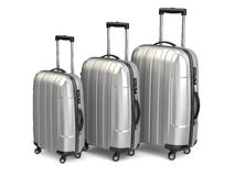Baggage. Aluminium suitcases on white  background. Stock Images