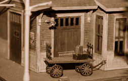 Baggage Car, Miniature. Baggage Car on a Miniature Train Layout Stock Image