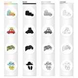 Baggage, a car with things, a map and a compass, a hat and slippers. Family holiday set collection icons in cartoon. Black monochrome outline style vector Royalty Free Stock Image