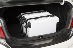 Baggage in car trunk for traveling concept Royalty Free Stock Photography