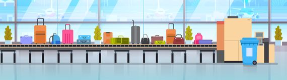 Baggage Carousel In Airport Different Suitcases Scanning On Luggage Conveyor Belt Before Departure. Flat Vector Illustration stock illustration