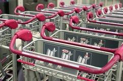 Baggage cart at airport Stock Photo