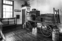 Baggage Cart and Cans. Monochrome Royalty Free Stock Photo