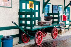 Historic train station, Big Valley, Alberta, Canada. Baggage cart from a historic train station send you back in time Royalty Free Stock Image