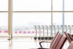 Baggage carts are provided in airports Royalty Free Stock Images