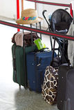 Baggage check in. Baggage waiting for check in on airport Royalty Free Stock Photos