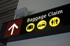 Baggage Claim. Airport sign for Baggage Claim Stock Photography