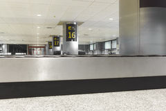 Baggage claim belts area in a modern airport. Nobody Stock Photo