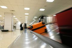 Baggage claim carousel at an airport. royalty free stock image