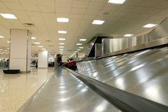 Baggage claim carousel at an airport. royalty free stock photography