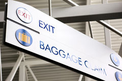Baggage Claim & Exit Sign. Baggage claim and exit sign in an airport Stock Image