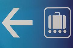 Baggage claim and exit sign in an airport. Baggage claim and exit sign in airport Stock Images
