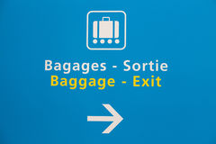 Baggage claim and exit sign in an airport. Baggage claim and exit sign in Paris airport Stock Photo