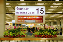Baggage claim information. Sign LCD board at airport,Bangkok, Thailand Stock Photography