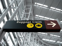 Baggage Claim Sign at Seattle Airport. Interior view looking up at Baggage Claim direction sign at Seattle (Sea-Tac) airport Royalty Free Stock Photo