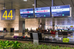 Baggage claims belt conveyor in Changi Airport. Arrival Hall Stock Photo