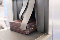 Baggage on conveyor belt. The image of a Baggage on conveyor belt stock photography